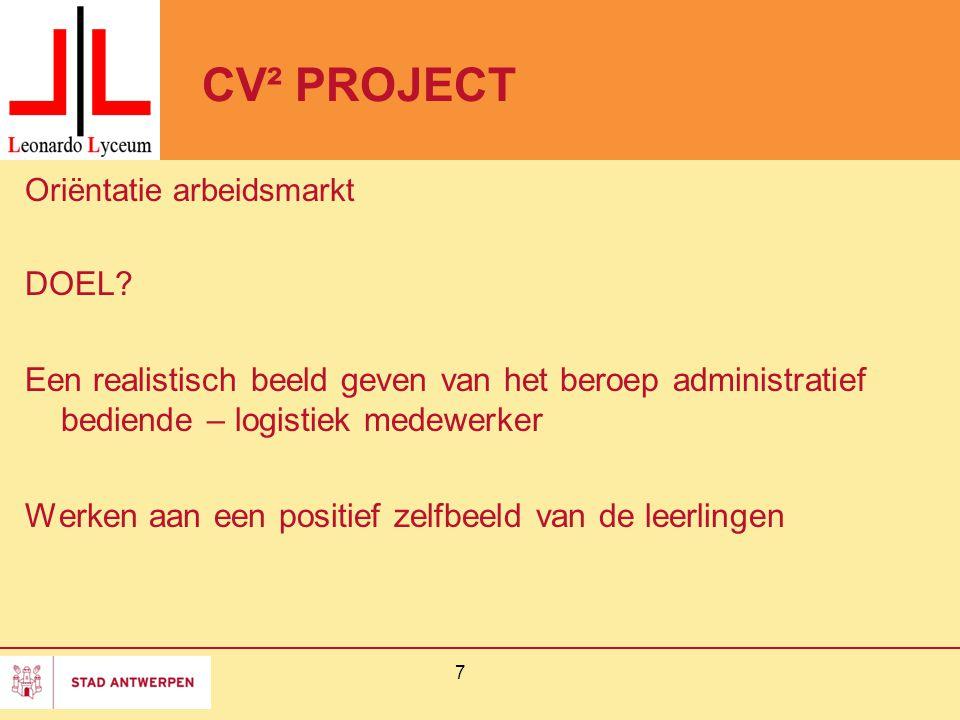 CV² PROJECT Oriëntatie arbeidsmarkt DOEL.