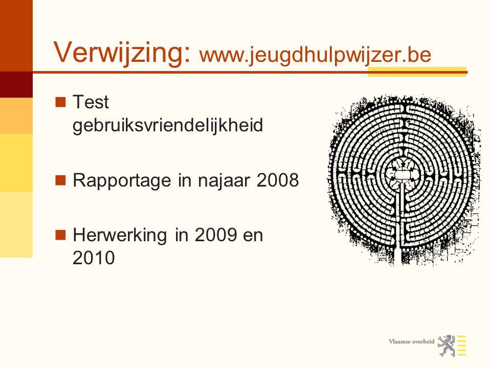 Verwijzing: www.jeugdhulpwijzer.be Test gebruiksvriendelijkheid Rapportage in najaar 2008 Herwerking in 2009 en 2010