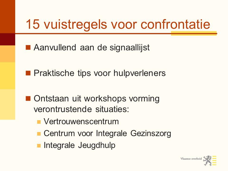 15 vuistregels voor confrontatie Aanvullend aan de signaallijst Praktische tips voor hulpverleners Ontstaan uit workshops vorming verontrustende situa
