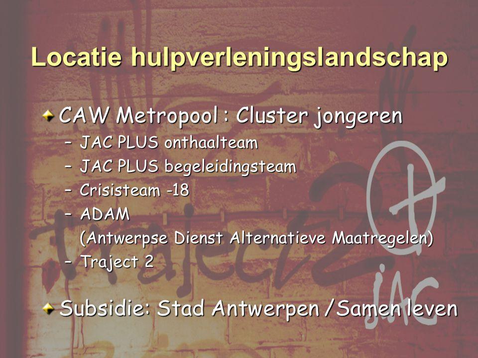 CAW Metropool : Cluster jongeren –JAC PLUS onthaalteam –JAC PLUS begeleidingsteam –Crisisteam -18 –ADAM (Antwerpse Dienst Alternatieve Maatregelen) –Traject 2 Subsidie: Stad Antwerpen /Samen leven Locatie hulpverleningslandschap