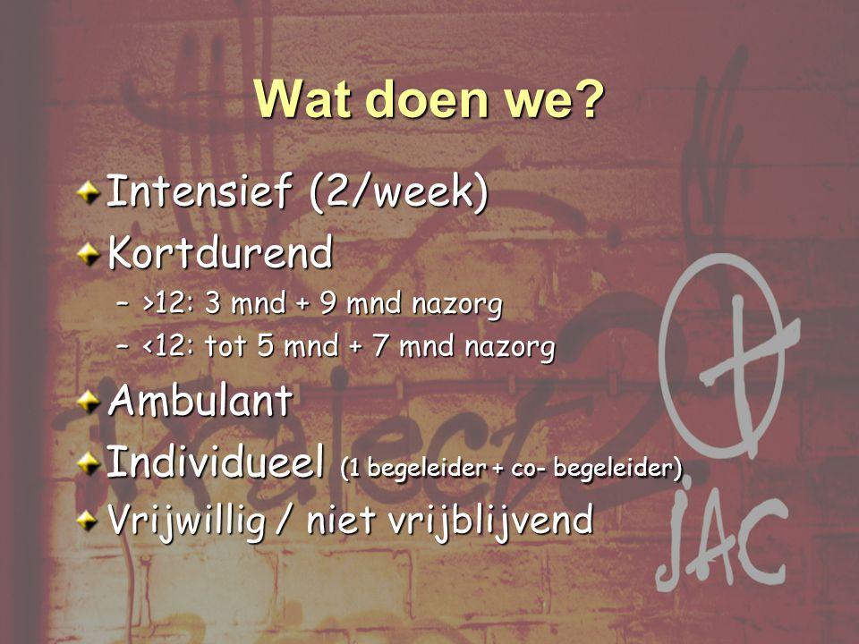 Intensief (2/week) Kortdurend –>12: 3 mnd + 9 mnd nazorg –<12: tot 5 mnd + 7 mnd nazorg Ambulant Individueel (1 begeleider + co- begeleider) Vrijwillig / niet vrijblijvend Wat doen we?