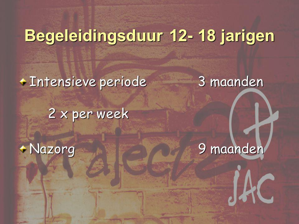 Intensieve periode 3 maanden 2 x per week Nazorg 9 maanden Begeleidingsduur 12- 18 jarigen