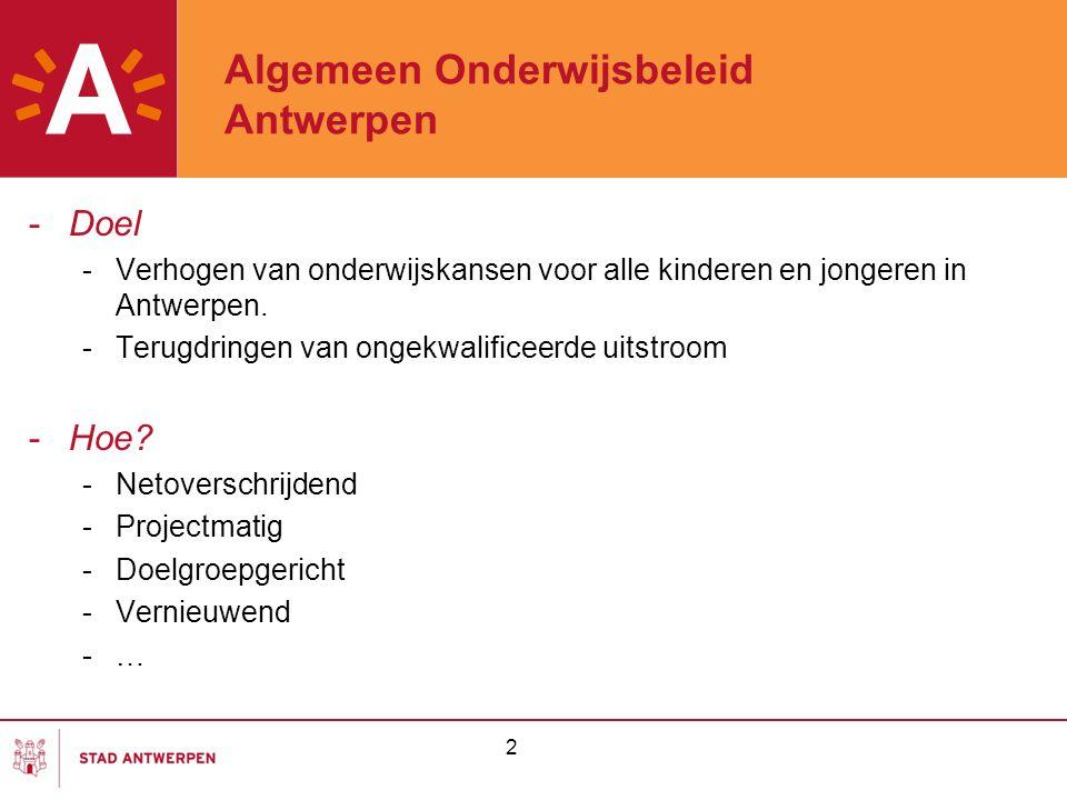 2 Algemeen Onderwijsbeleid Antwerpen -Doel -Verhogen van onderwijskansen voor alle kinderen en jongeren in Antwerpen. -Terugdringen van ongekwalificee