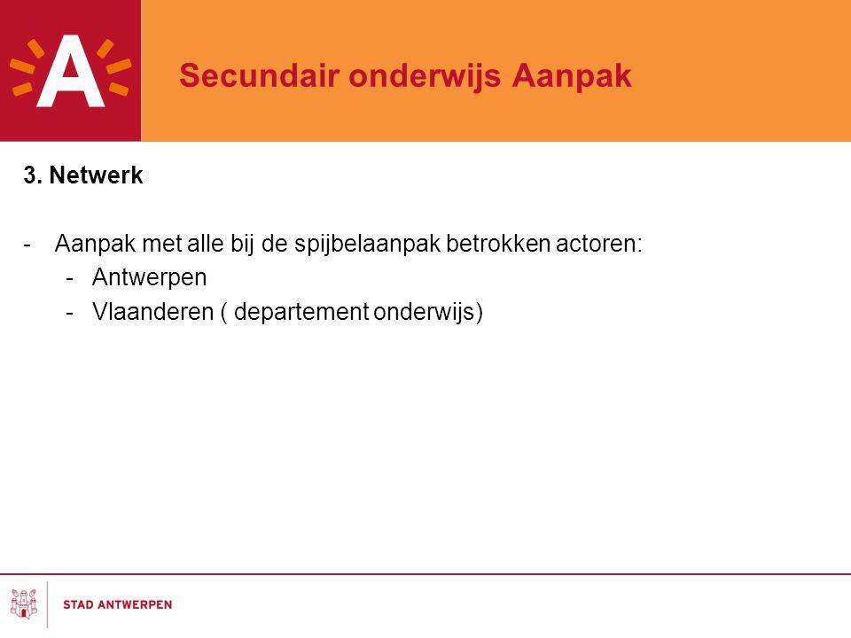 Secundair onderwijs Aanpak 3. Netwerk -Aanpak met alle bij de spijbelaanpak betrokken actoren: -Antwerpen -Vlaanderen ( departement onderwijs)