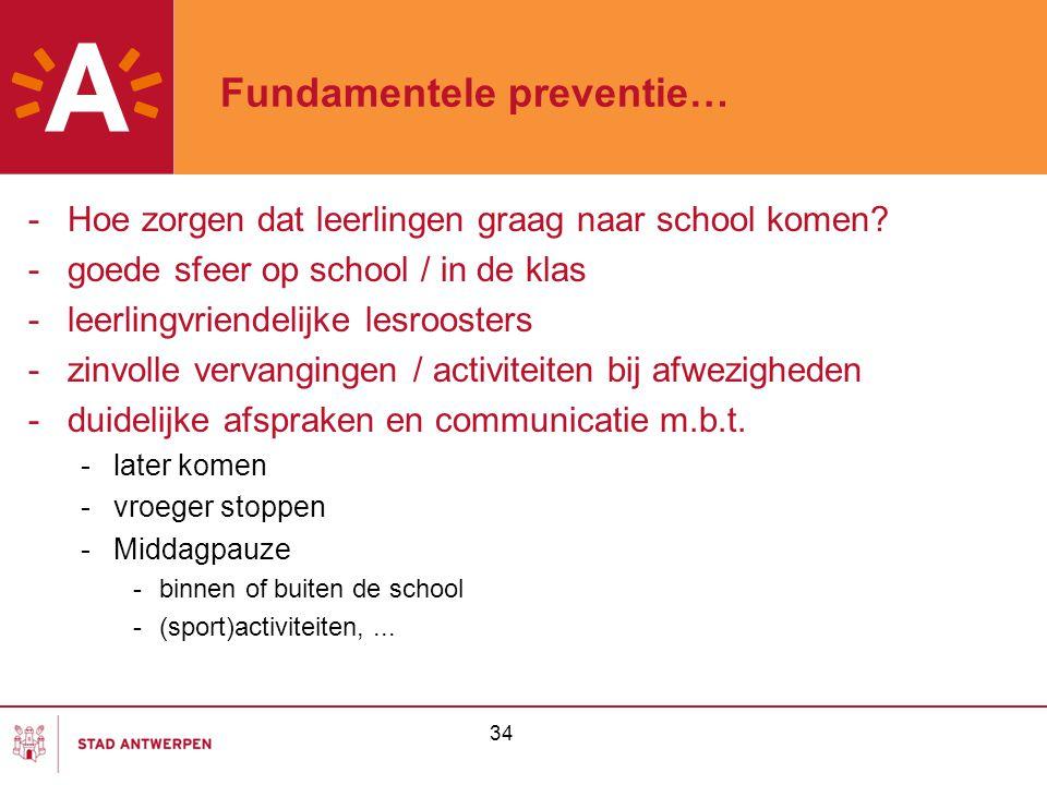 34 Fundamentele preventie… -Hoe zorgen dat leerlingen graag naar school komen? -goede sfeer op school / in de klas -leerlingvriendelijke lesroosters -