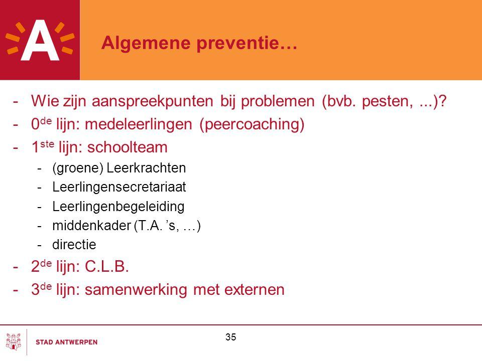 35 Algemene preventie… -Wie zijn aanspreekpunten bij problemen (bvb. pesten,...)? -0 de lijn: medeleerlingen (peercoaching) -1 ste lijn: schoolteam -(