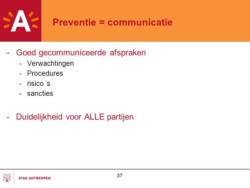 37 Preventie = communicatie -Goed gecommuniceerde afspraken -Verwachtingen -Procedures -risico 's -sancties -Duidelijkheid voor ALLE partijen