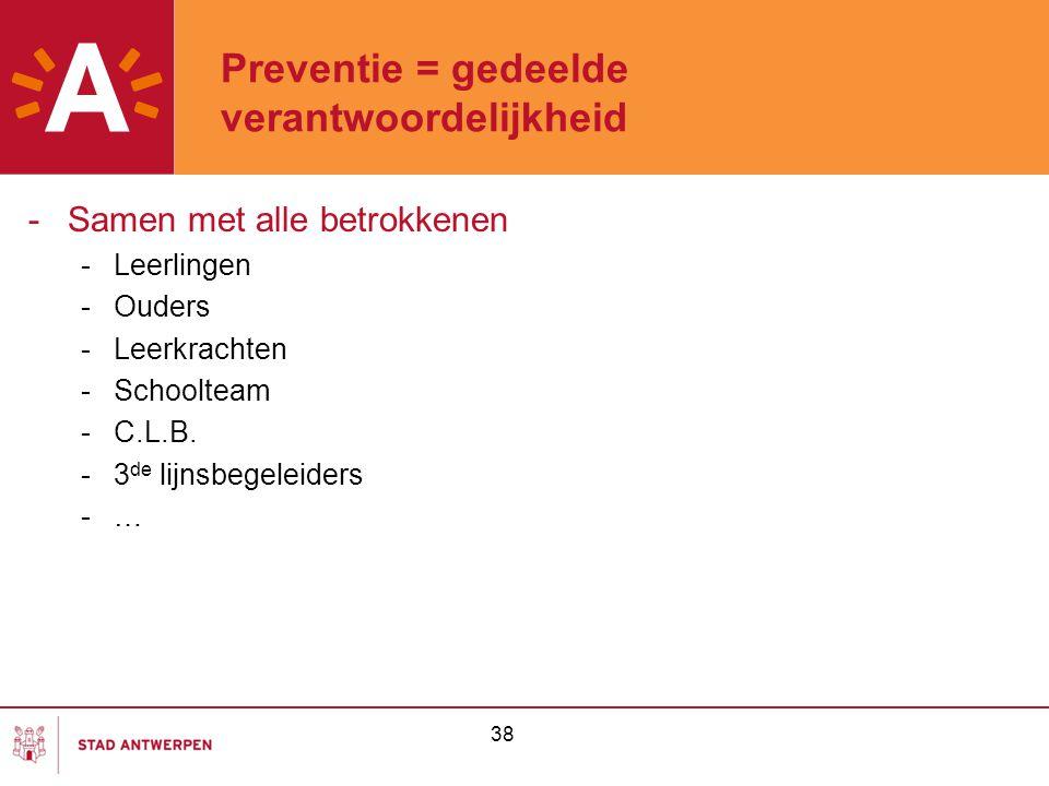 38 Preventie = gedeelde verantwoordelijkheid -Samen met alle betrokkenen -Leerlingen -Ouders -Leerkrachten -Schoolteam -C.L.B. -3 de lijnsbegeleiders
