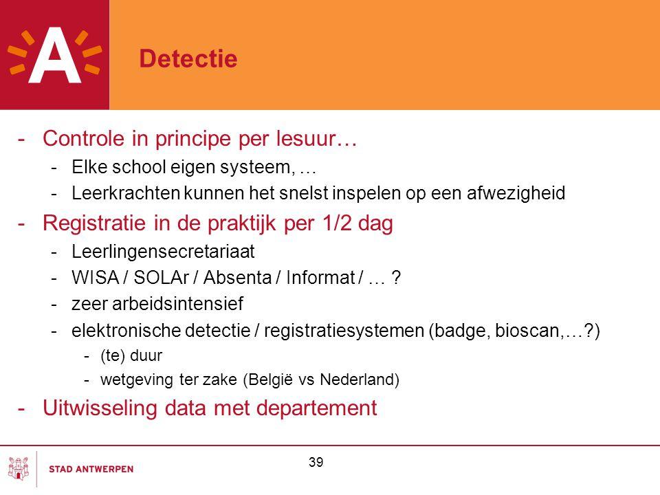 39 Detectie -Controle in principe per lesuur… -Elke school eigen systeem, … -Leerkrachten kunnen het snelst inspelen op een afwezigheid -Registratie i