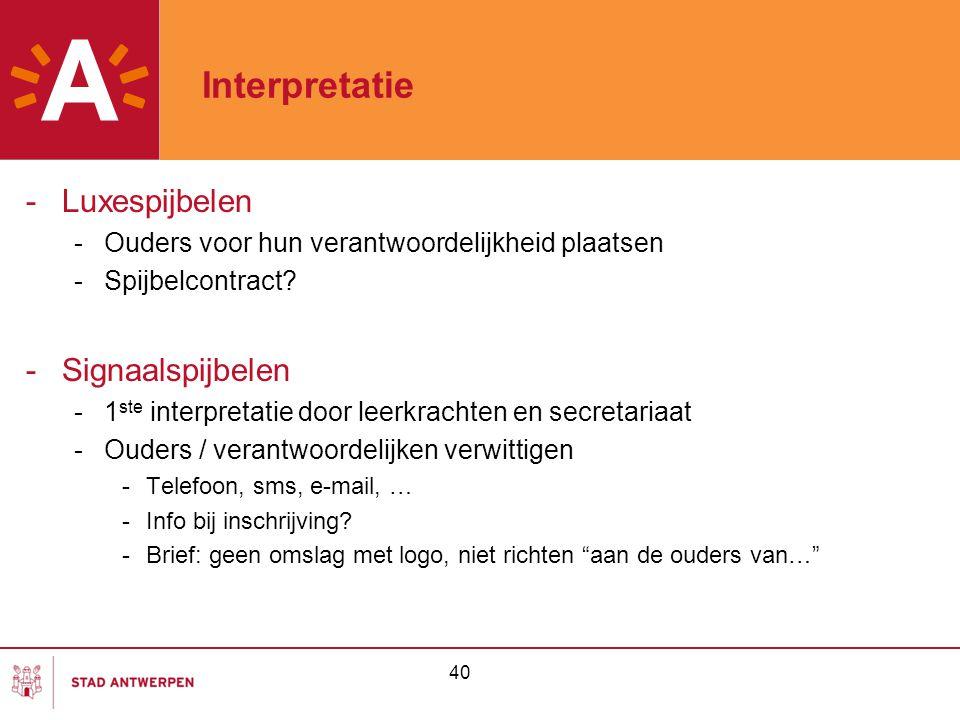 40 Interpretatie -Luxespijbelen -Ouders voor hun verantwoordelijkheid plaatsen -Spijbelcontract? -Signaalspijbelen -1 ste interpretatie door leerkrach
