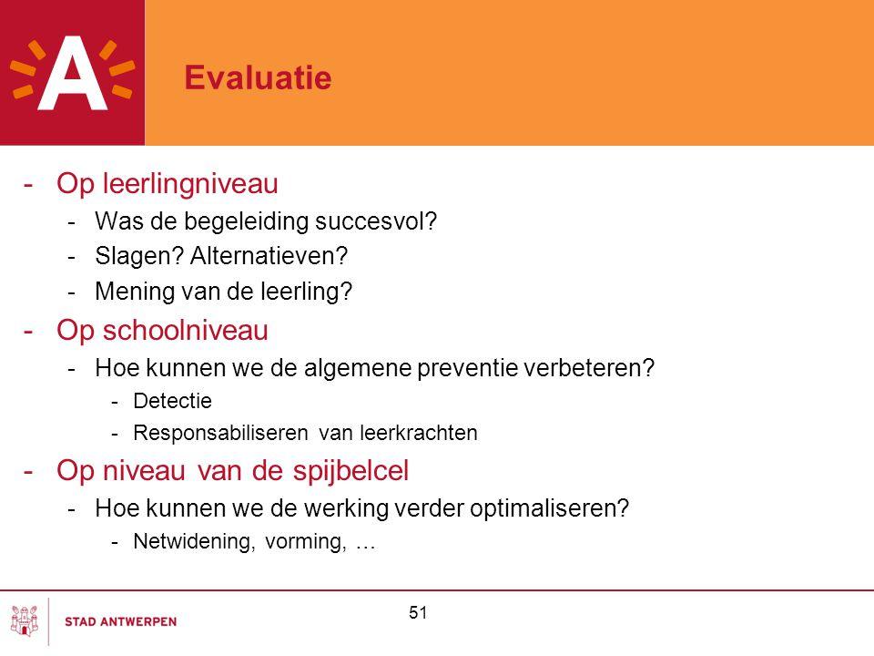 51 Evaluatie -Op leerlingniveau -Was de begeleiding succesvol? -Slagen? Alternatieven? -Mening van de leerling? -Op schoolniveau -Hoe kunnen we de alg