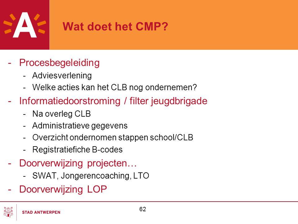 62 Wat doet het CMP? -Procesbegeleiding -Adviesverlening -Welke acties kan het CLB nog ondernemen? -Informatiedoorstroming / filter jeugdbrigade -Na o