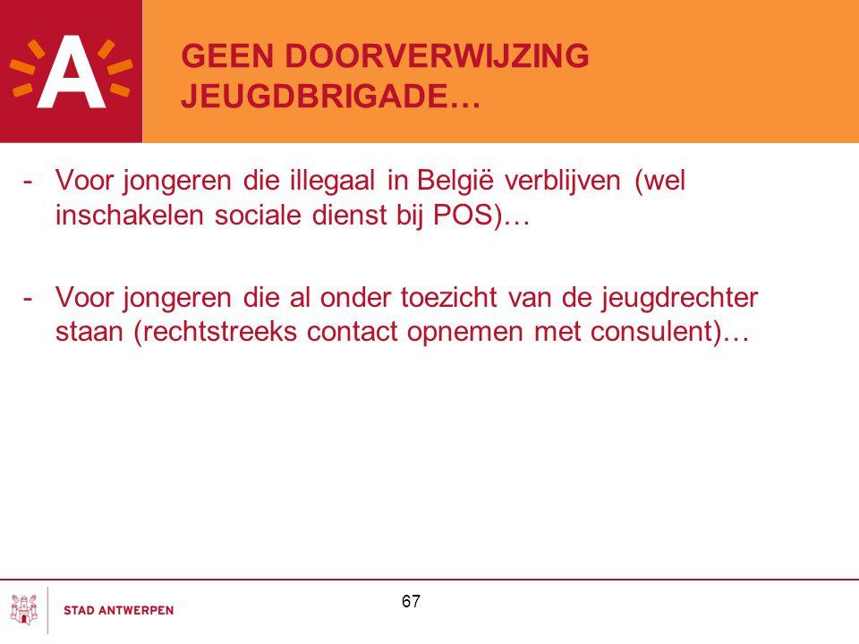 67 GEEN DOORVERWIJZING JEUGDBRIGADE… -Voor jongeren die illegaal in België verblijven (wel inschakelen sociale dienst bij POS)… -Voor jongeren die al