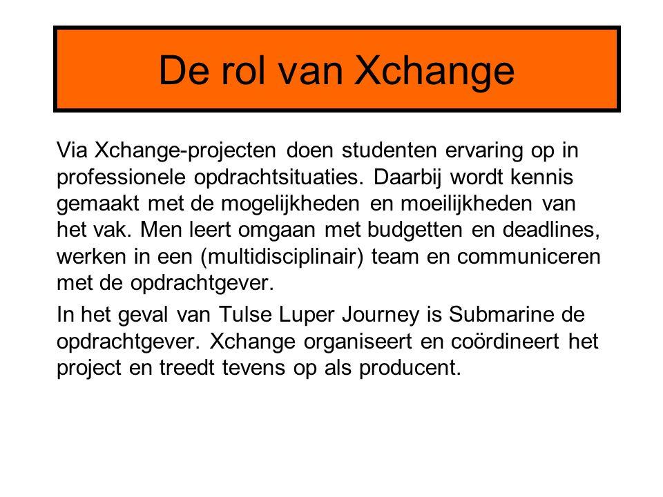 De rol van Xchange Via Xchange-projecten doen studenten ervaring op in professionele opdrachtsituaties. Daarbij wordt kennis gemaakt met de mogelijkhe