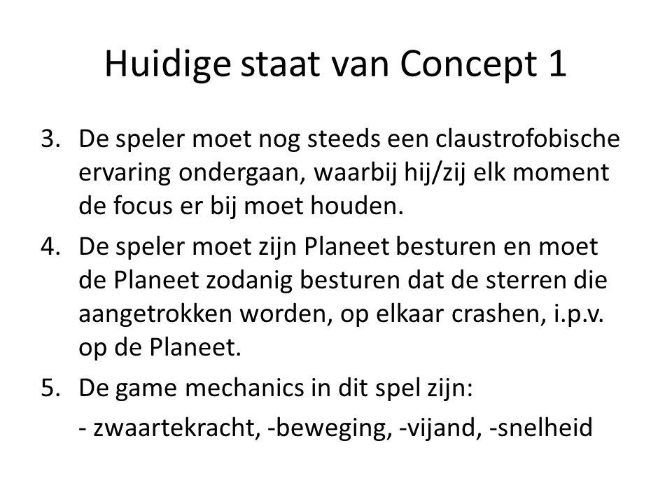 Huidige staat van Concept 1 3.De speler moet nog steeds een claustrofobische ervaring ondergaan, waarbij hij/zij elk moment de focus er bij moet houden.