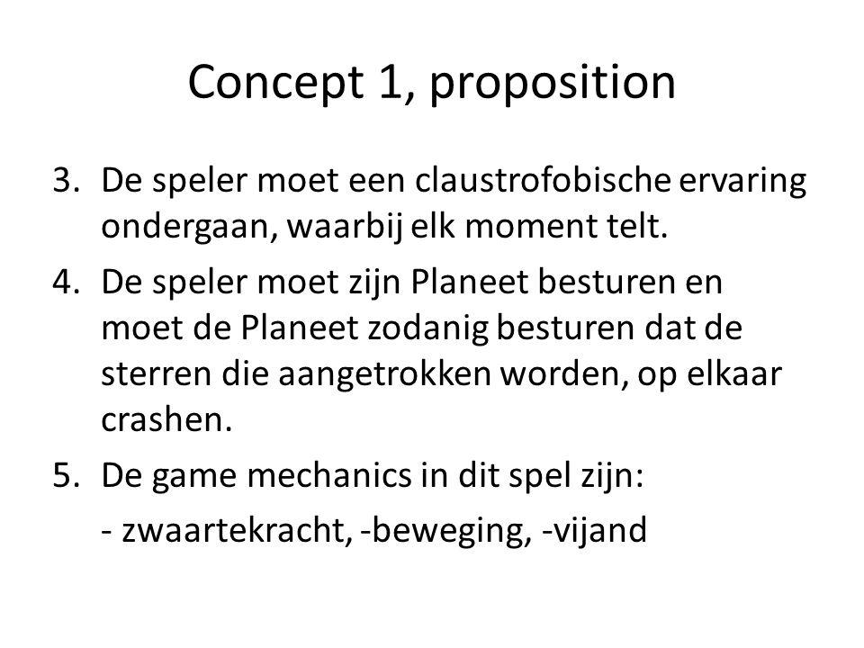 Concept 1, proposition 3.De speler moet een claustrofobische ervaring ondergaan, waarbij elk moment telt.