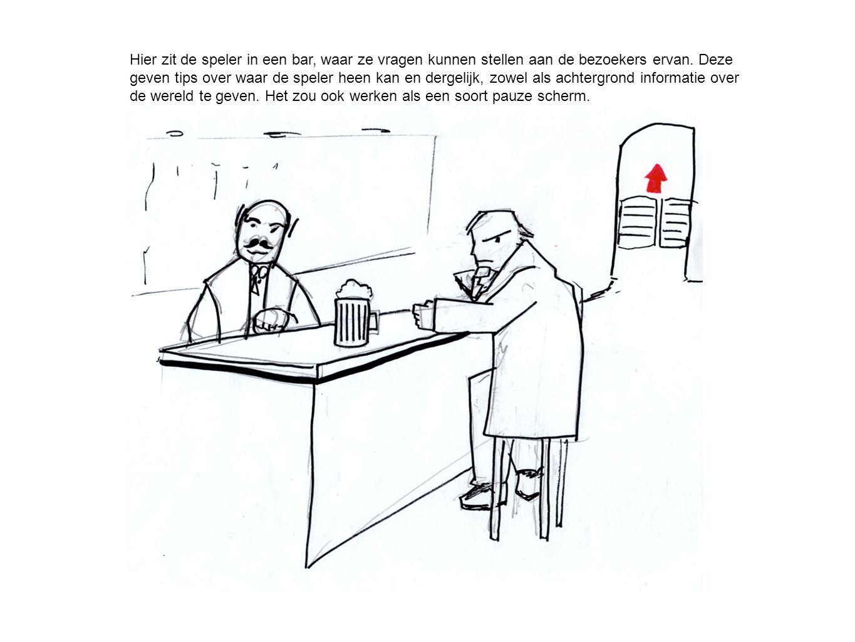 Hier zit de speler in een bar, waar ze vragen kunnen stellen aan de bezoekers ervan. Deze geven tips over waar de speler heen kan en dergelijk, zowel