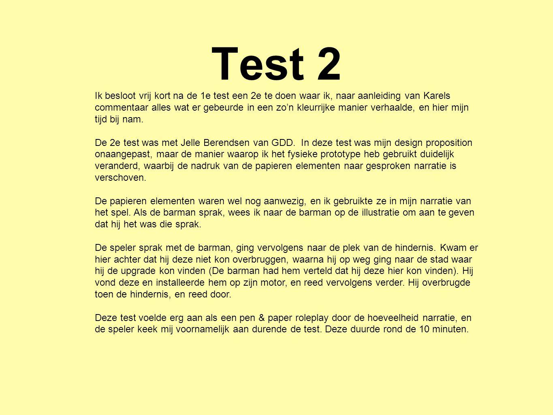 Test 2 Ik besloot vrij kort na de 1e test een 2e te doen waar ik, naar aanleiding van Karels commentaar alles wat er gebeurde in een zo'n kleurrijke m