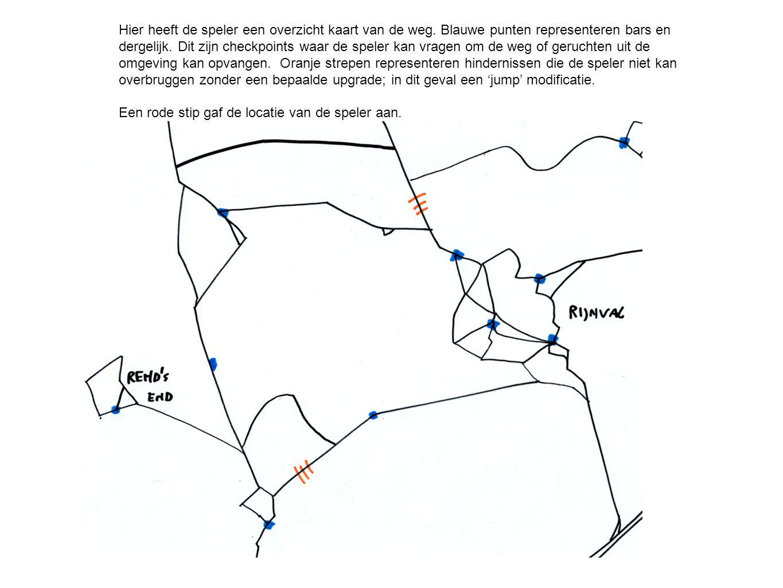 Hier heeft de speler een overzicht kaart van de weg. Blauwe punten representeren bars en dergelijk. Dit zijn checkpoints waar de speler kan vragen om