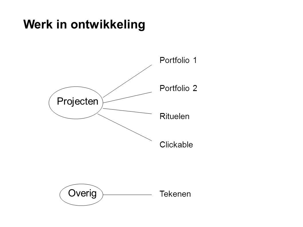 Tekenen Projecten Portfolio 1 Portfolio 2 Rituelen Clickable Werk in ontwikkeling Overig