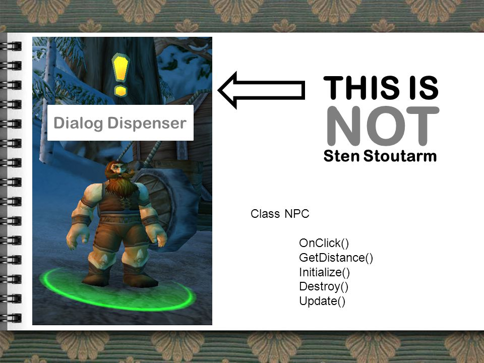 THIS IS NOT Sten Stoutarm Dialog Dispenser Class NPC OnClick() GetDistance() Initialize() Destroy() Update()