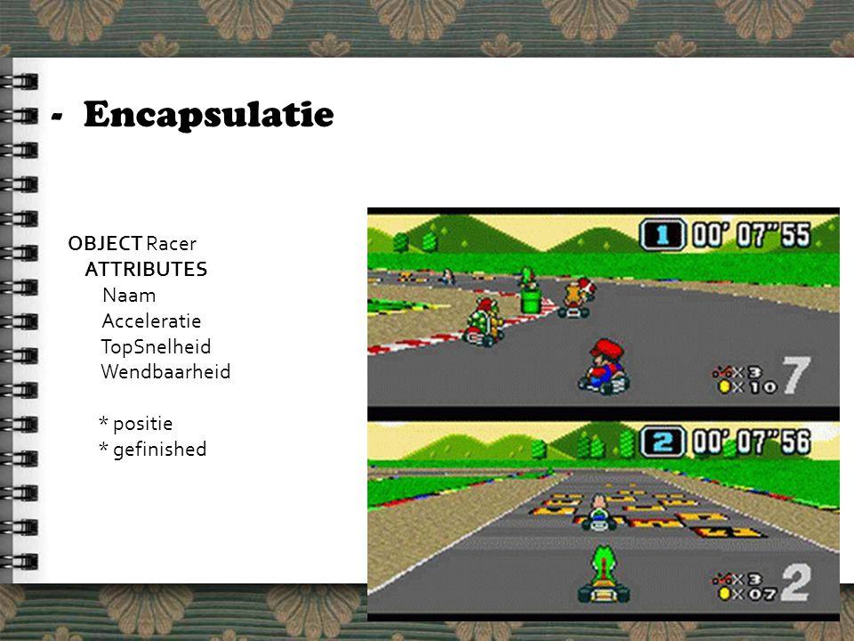 -Encapsulatie OBJECT Racer ATTRIBUTES Naam Acceleratie TopSnelheid Wendbaarheid * positie * gefinished