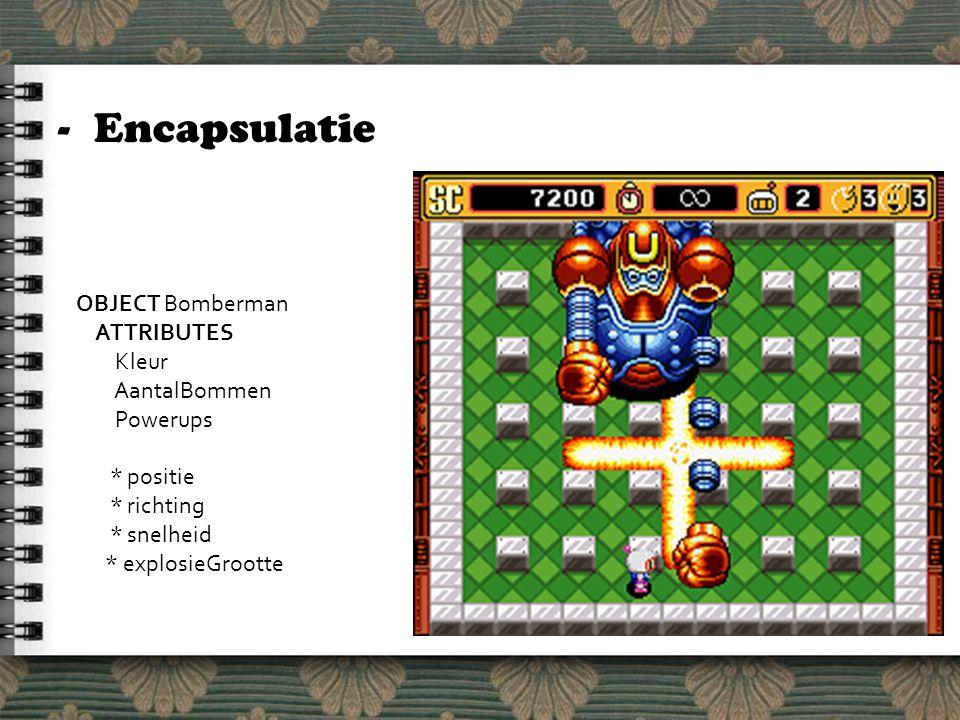 -Encapsulatie OBJECT Bomberman ATTRIBUTES Kleur AantalBommen Powerups * positie * richting * snelheid * explosieGrootte