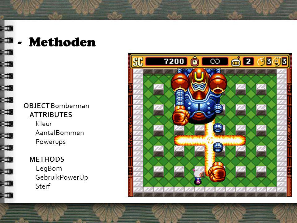 -Methoden OBJECT Bomberman ATTRIBUTES Kleur AantalBommen Powerups METHODS LegBom GebruikPowerUp Sterf