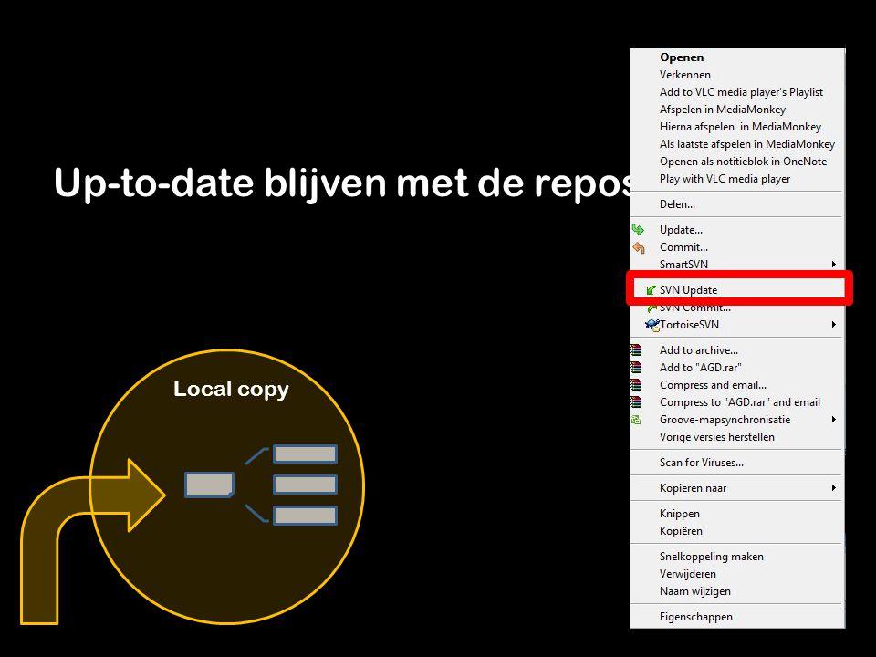 Als je een bestand of folder verwijdert of hernoemt doe je dit ALTIJD alleen op de repository Vervolgens worden de bestanden lokaal verwijderd bij de volgende update