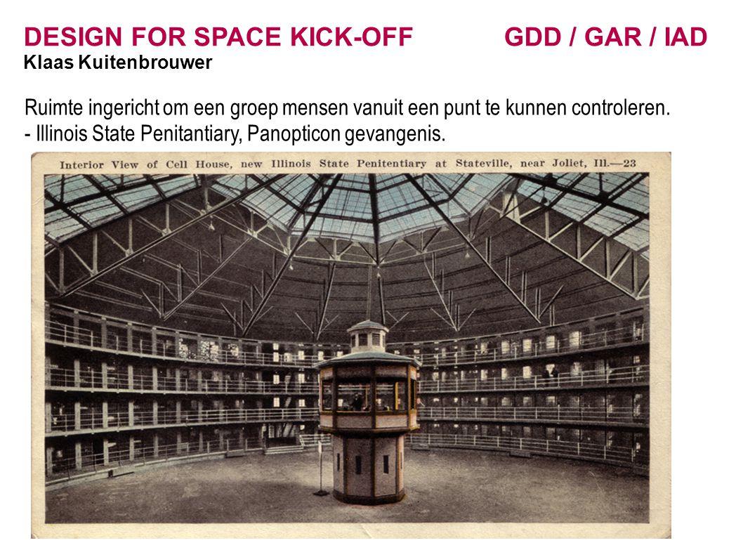 DESIGN FOR SPACE KICK-OFF GDD / GAR / IAD Klaas Kuitenbrouwer Ruimte ingericht om een groep mensen vanuit een punt te kunnen controleren.