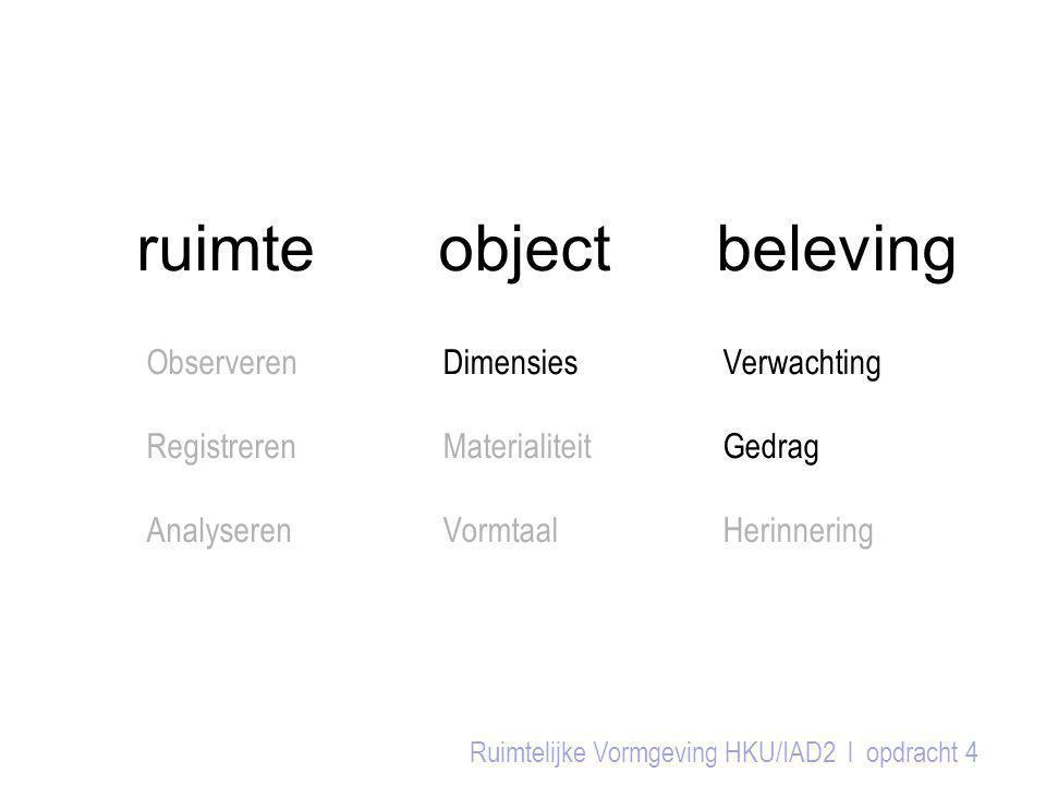 ruimte object beleving Ruimtelijke Vormgeving HKU/IAD2 l opdracht 4 Observeren Registreren Analyseren Dimensies Materialiteit Vormtaal Verwachting Ged