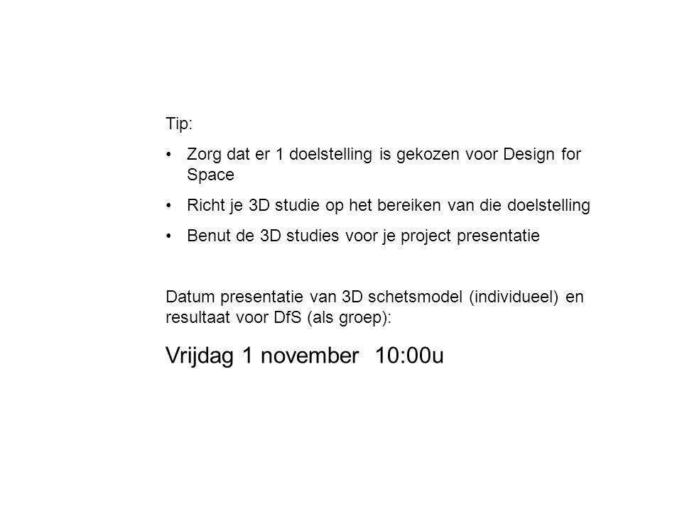 Tip: Zorg dat er 1 doelstelling is gekozen voor Design for Space Richt je 3D studie op het bereiken van die doelstelling Benut de 3D studies voor je p