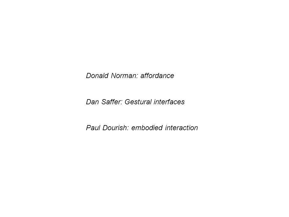 Donald Norman: affordance Dan Saffer: Gestural interfaces Paul Dourish: embodied interaction