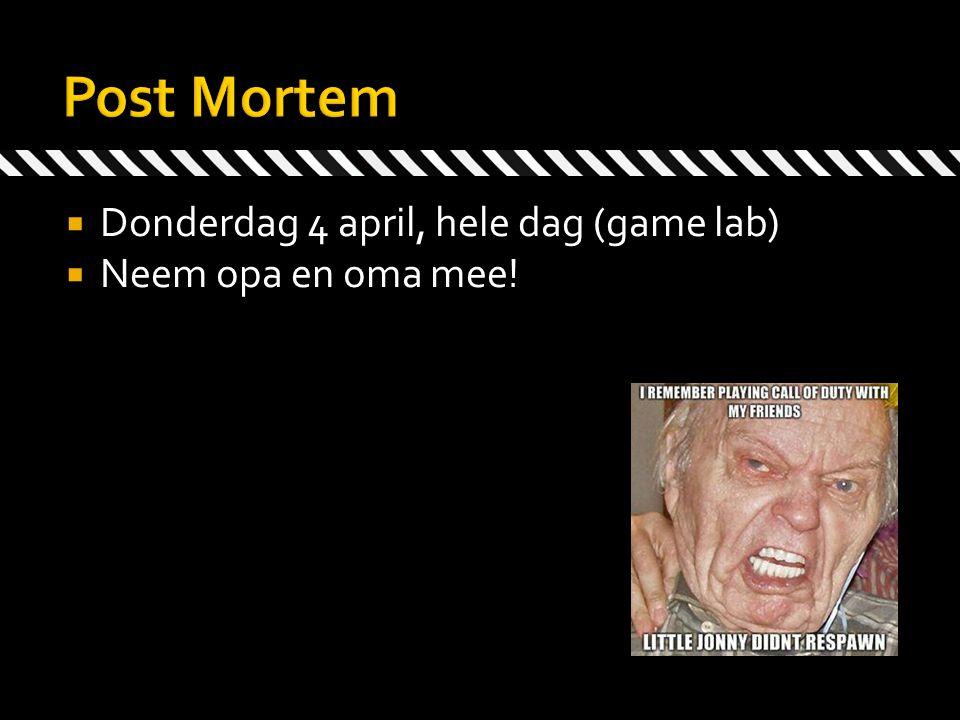 Donderdag 4 april, hele dag (game lab)  Neem opa en oma mee!