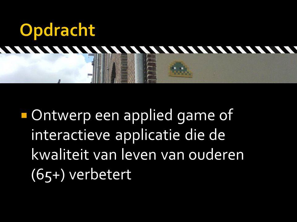  Ontwerp een applied game of interactieve applicatie die de kwaliteit van leven van ouderen (65+) verbetert