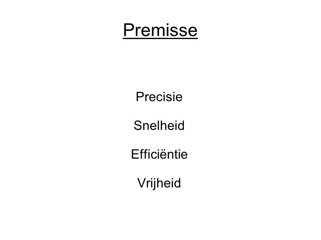 Premisse Precisie Snelheid Efficiëntie Vrijheid