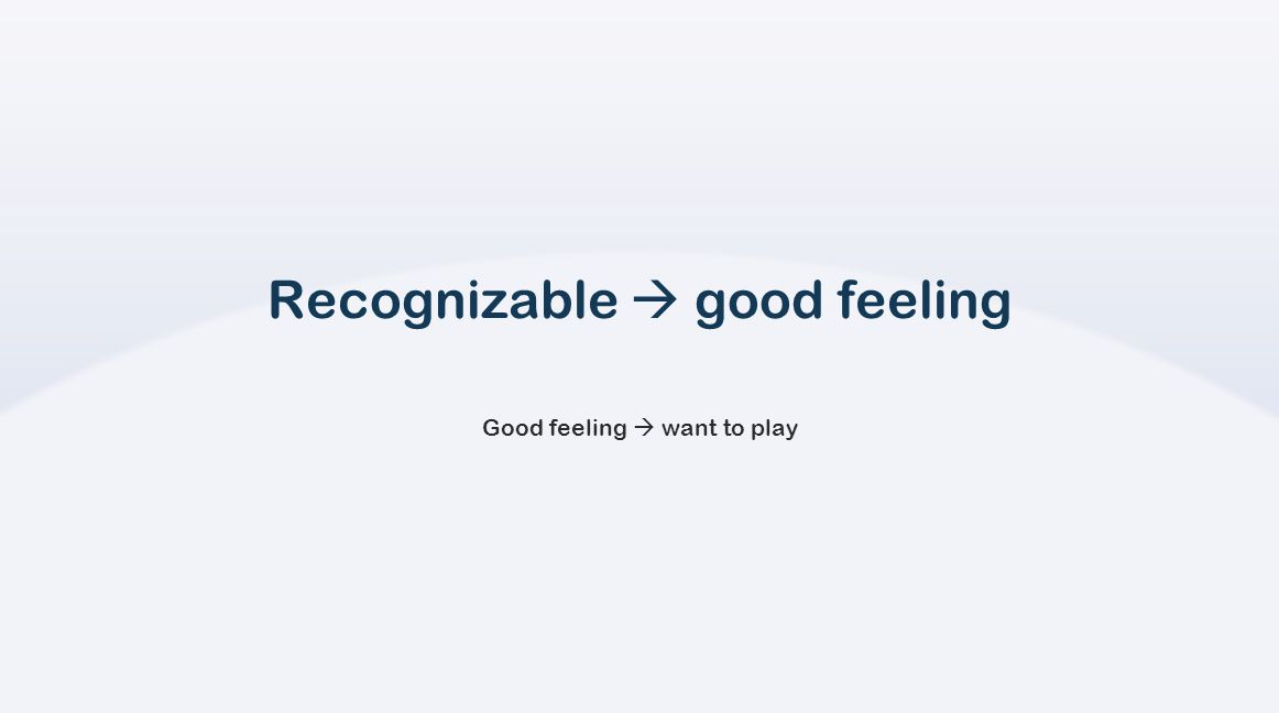 Recognizable  good feeling Good feeling  want to play