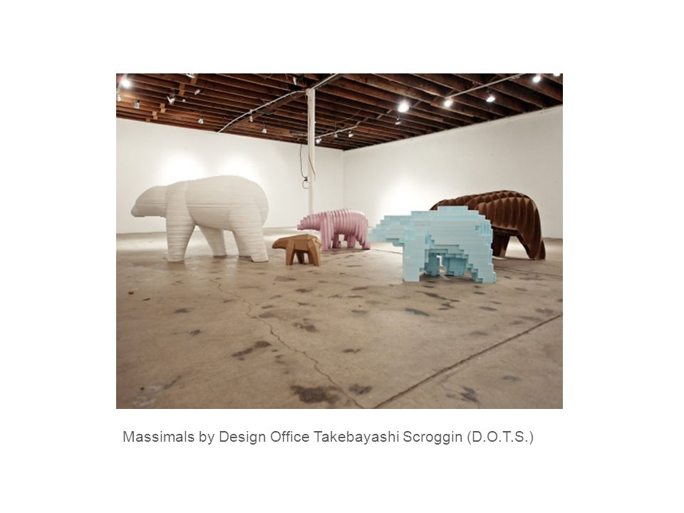 Massimals by Design Office Takebayashi Scroggin (D.O.T.S.) It's an architectural installation that feels more like a life-size petting zoo – each animal is made out of simple material like cardboard and foam, and assembled from two-dimensional pieces.