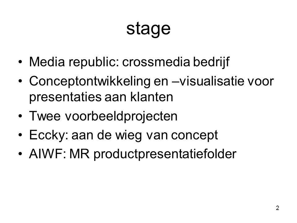 2 stage Media republic: crossmedia bedrijf Conceptontwikkeling en –visualisatie voor presentaties aan klanten Twee voorbeeldprojecten Eccky: aan de wieg van concept AIWF: MR productpresentatiefolder