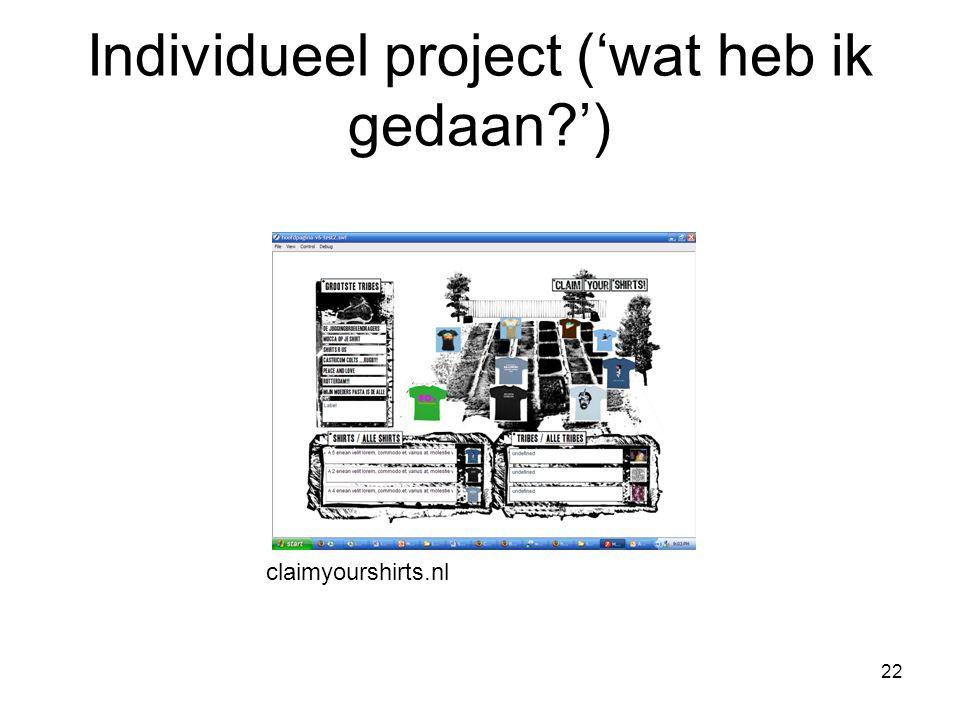 22 claimyourshirts.nl Individueel project ('wat heb ik gedaan ')