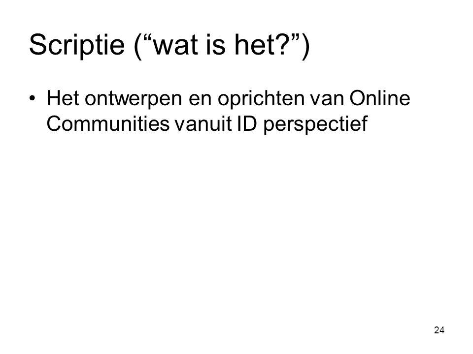 24 Scriptie ( wat is het ) Het ontwerpen en oprichten van Online Communities vanuit ID perspectief