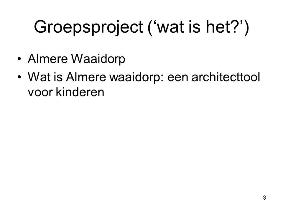 4 Groepsproject ('wat is het?') Doel: om kinderen inspiratie te laten genereren voor architecten van een aankomend themapark rondom annie mg Schmidt, in Almere