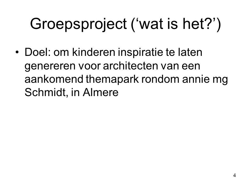 4 Groepsproject ('wat is het?') Doel: om kinderen inspiratie te laten genereren voor architecten van een aankomend themapark rondom annie mg Schmidt,