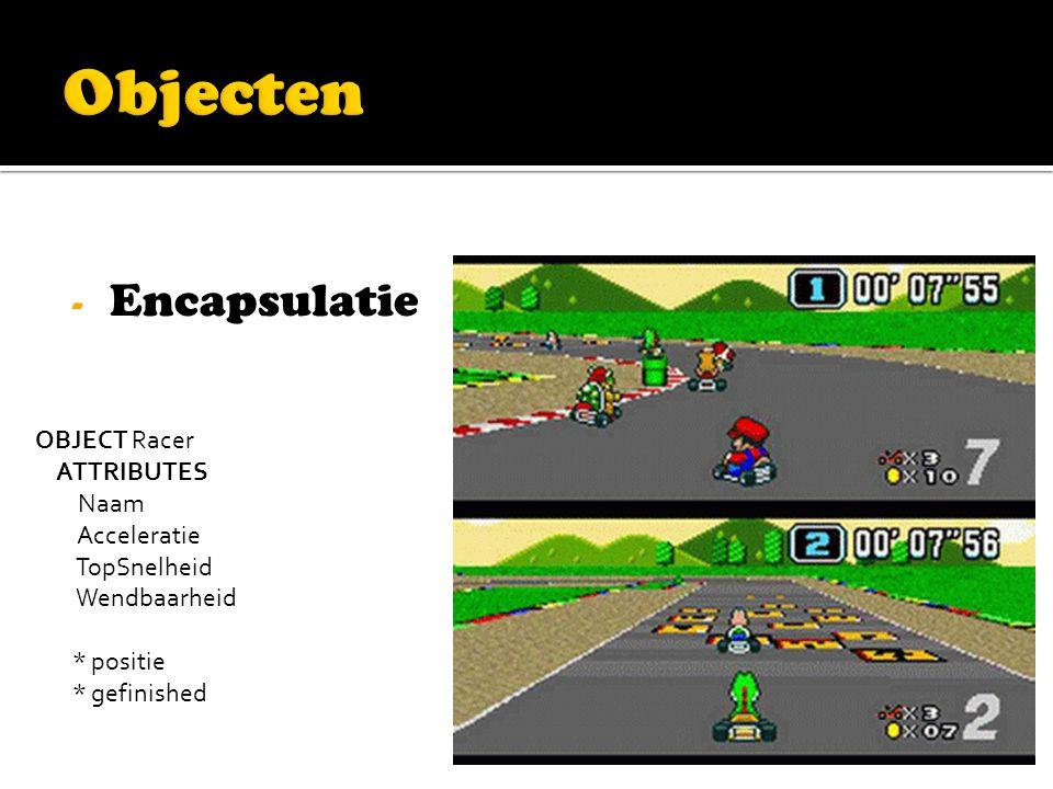 - Encapsulatie OBJECT Racer ATTRIBUTES Naam Acceleratie TopSnelheid Wendbaarheid * positie * gefinished