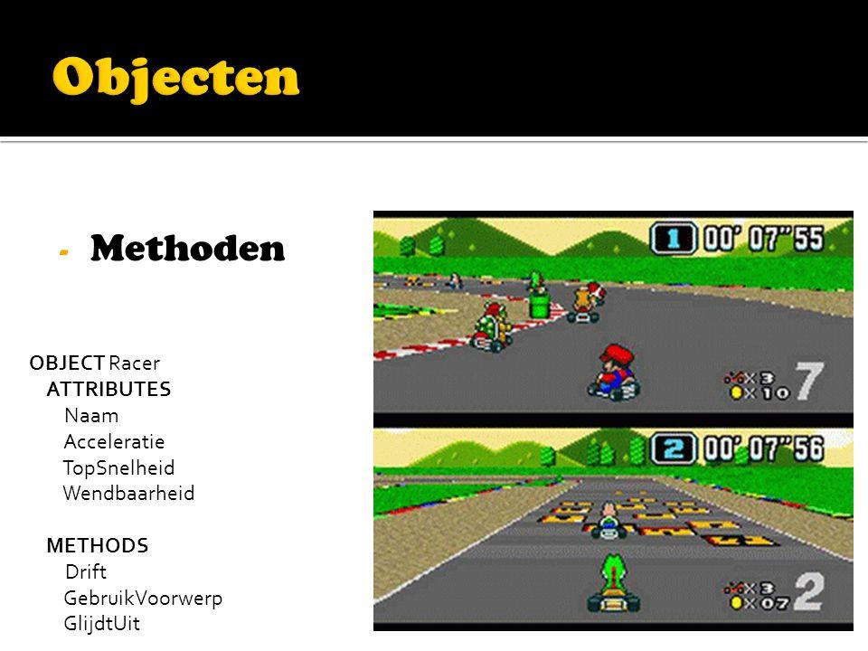 - Methoden OBJECT Racer ATTRIBUTES Naam Acceleratie TopSnelheid Wendbaarheid METHODS Drift GebruikVoorwerp GlijdtUit