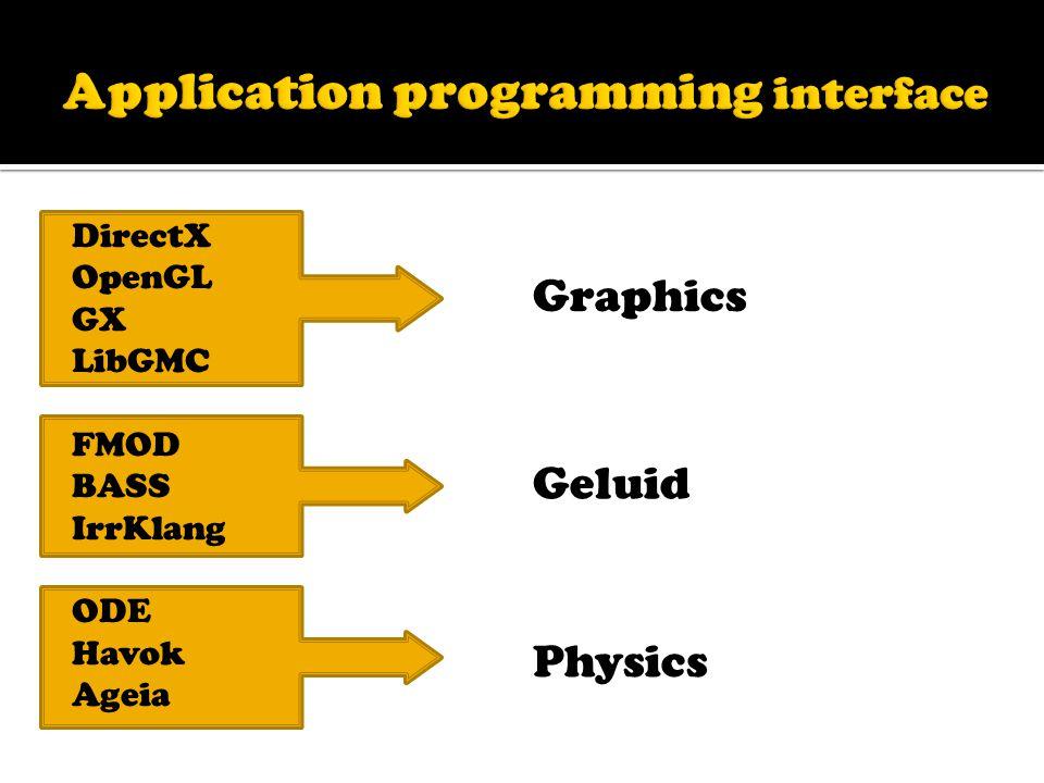 DirectX OpenGL GX LibGMC FMOD BASS IrrKlang ODE Havok Ageia Graphics Geluid Physics