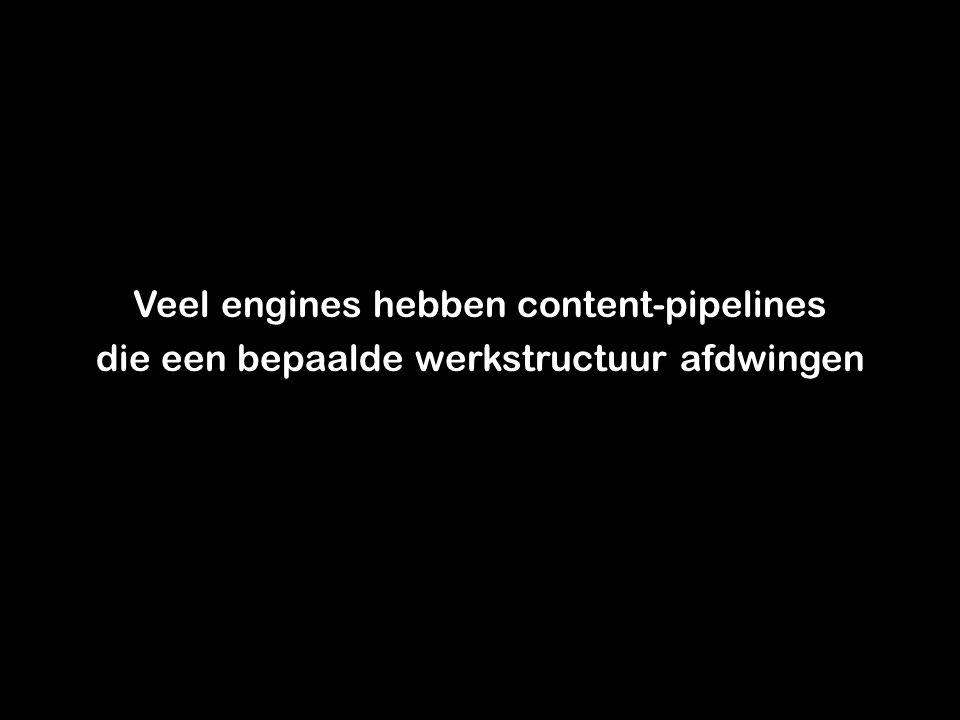 Een goede content-pipeline Kent weinig handmatige stappen Heeft weinig/geen opties in exporters (nodig) Gebruikt bestaande formaten zoals XML Maakt niet meteen een self-contained archive