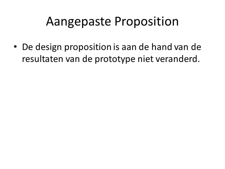Aangepaste Proposition De design proposition is aan de hand van de resultaten van de prototype niet veranderd.