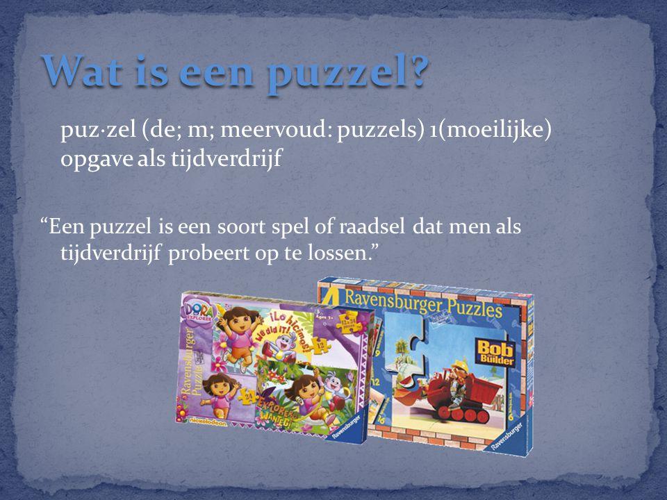 """puz·zel (de; m; meervoud: puzzels) 1(moeilijke) opgave als tijdverdrijf """"Een puzzel is een soort spel of raadsel dat men als tijdverdrijf probeert op"""