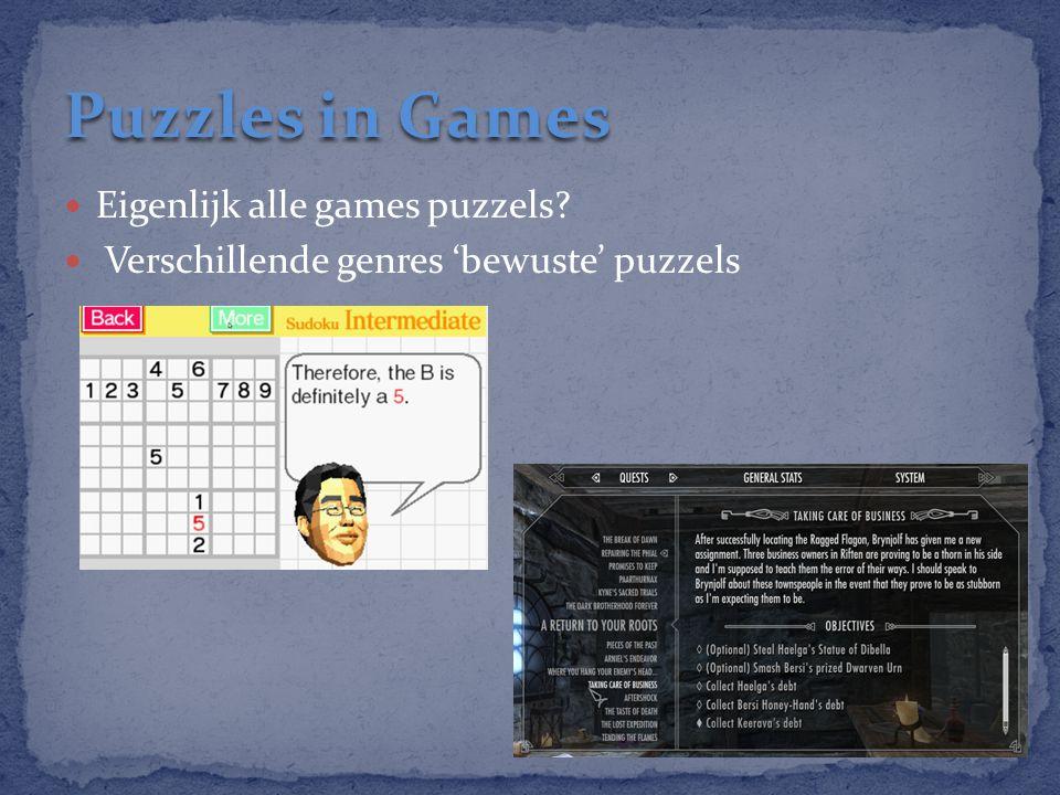 Eigenlijk alle games puzzels? Verschillende genres 'bewuste' puzzels